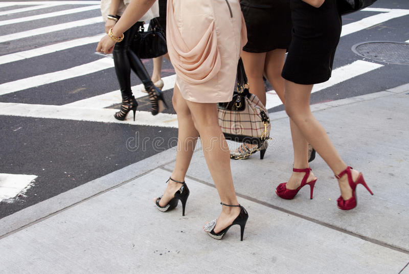 Detail of women shoes and heels outdoors in New York stock image