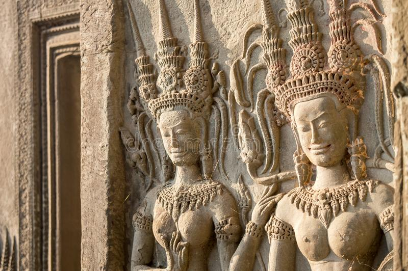 Detail of women statues in Angkor Wat, Siem Rep Cambodia royalty free stock image