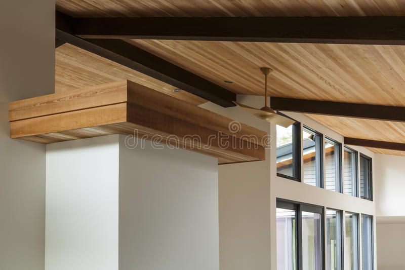 Detail Of Wood Beam Ceiling In A Modern House Stock Photo