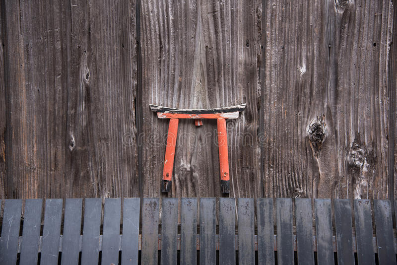 Detail of wood Japanese house in Gion stock image