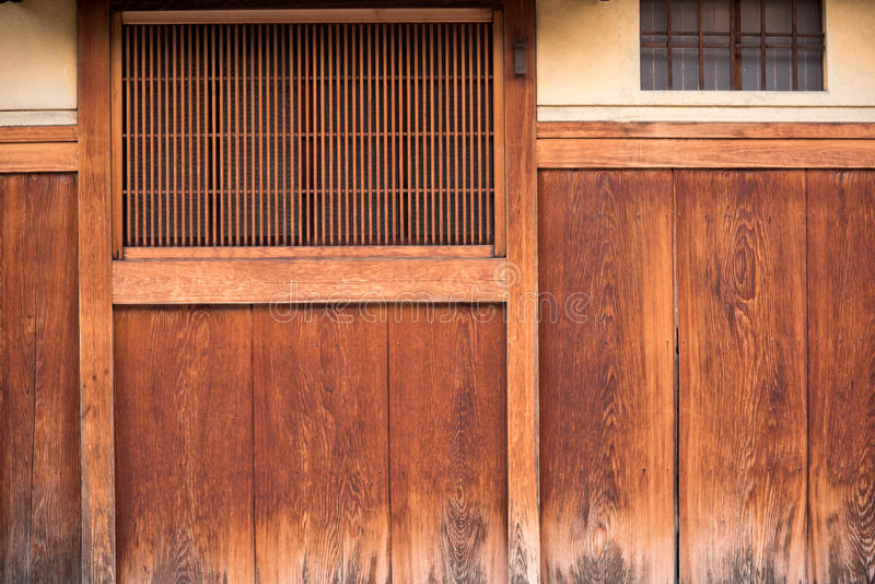 Detail of wood Japanese house in Gion. District in Kyoto Japan royalty free stock images