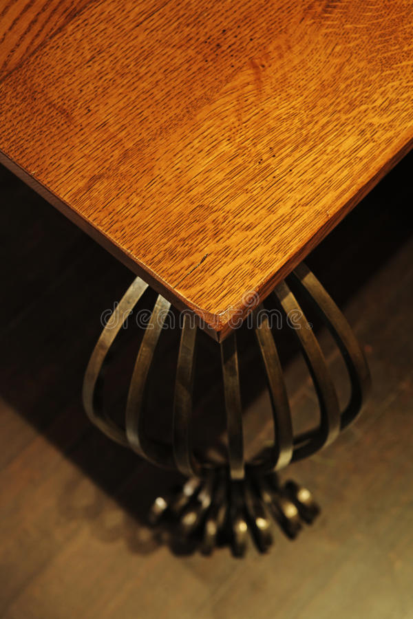Download Detail Of Wood Table With Metal Legs. Stock Image - Image: 21576967