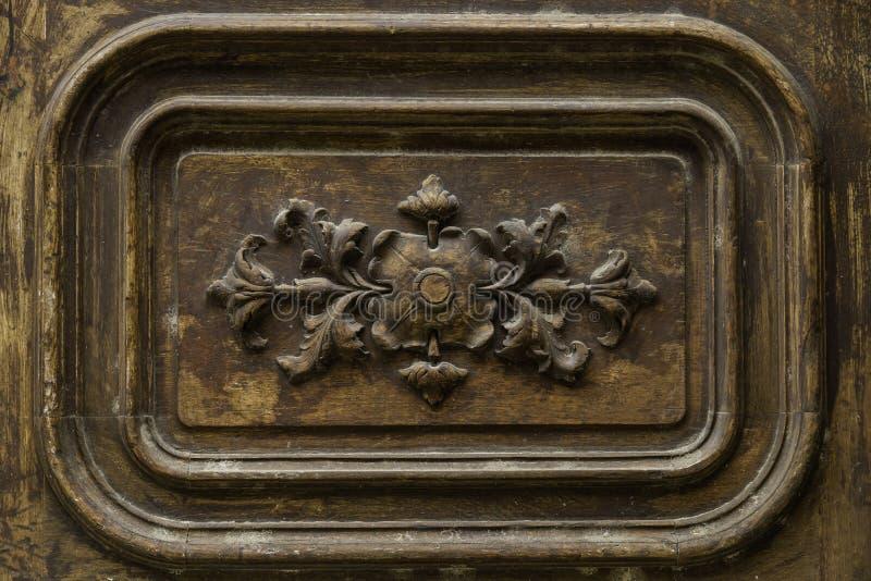 Detail wooden door ornament stock image