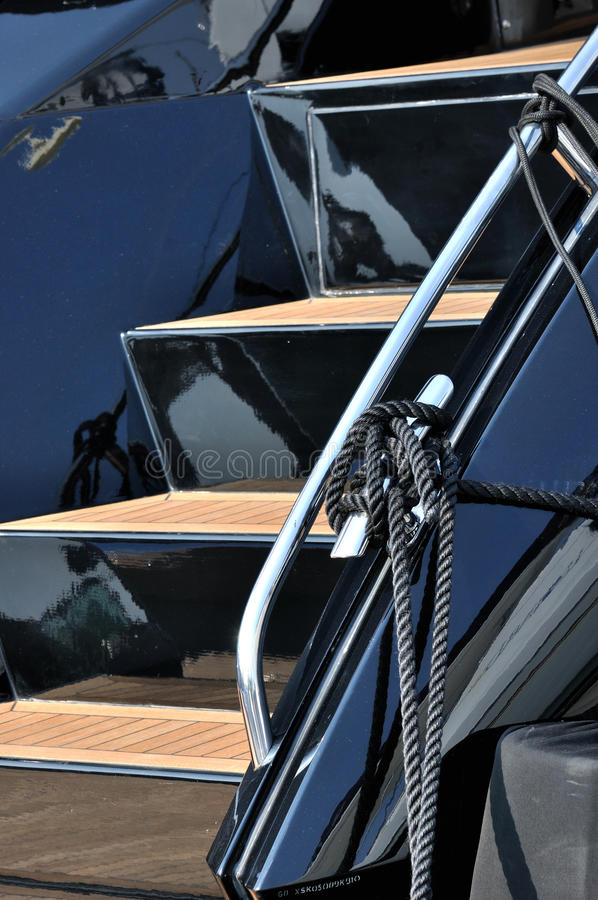 Detail of yacht stair in deep color