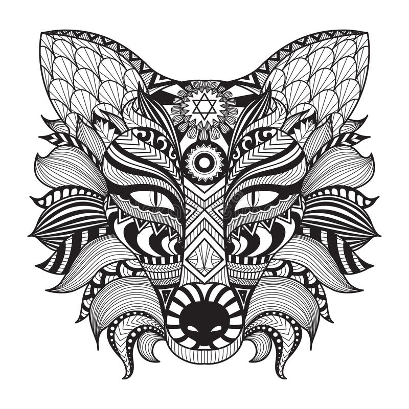Detail zentangle fox isolated on white background. vector illustration