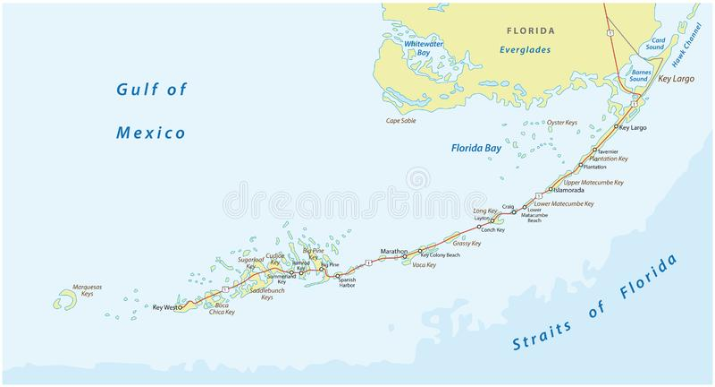 Detaild florida keys road and travel vector map vector illustration
