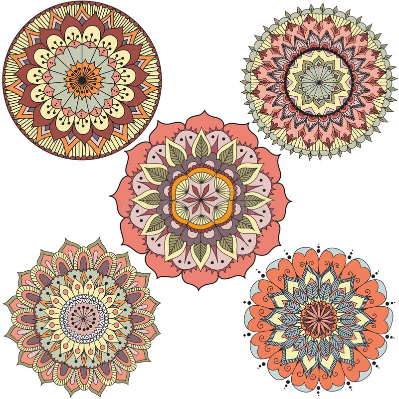 Detailed abstract colorful floral mandala circles for design element - Stock Vector stock illustration