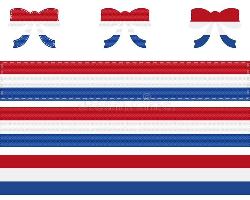 Dutch flag on ribbon and bow vector illustration
