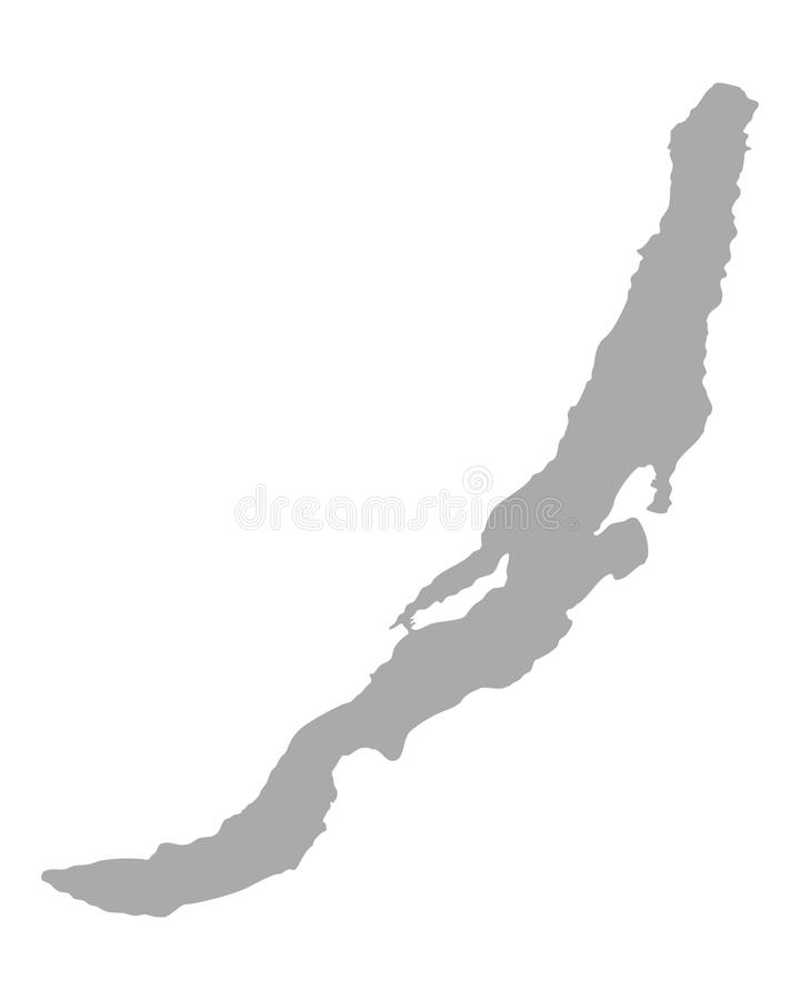 Map of Lake Baikal. Detailed and accurate illustration of map of Lake Baikal stock illustration