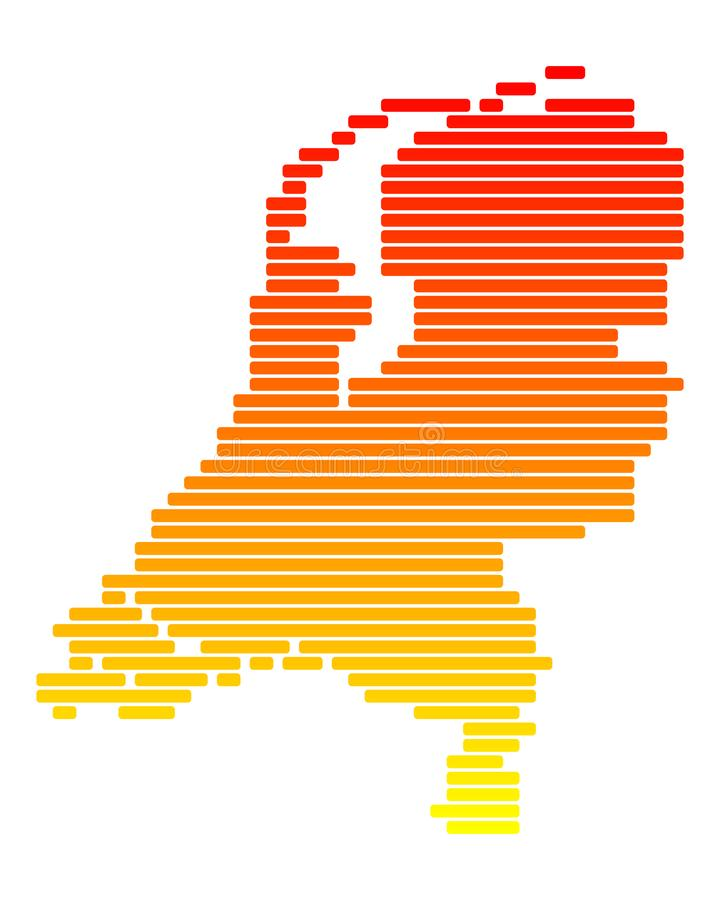 Map of Netherlands. Detailed and accurate illustration of map of Netherlands royalty free illustration