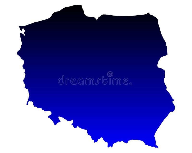 Map of Poland. Detailed and accurate illustration of map of Poland royalty free illustration