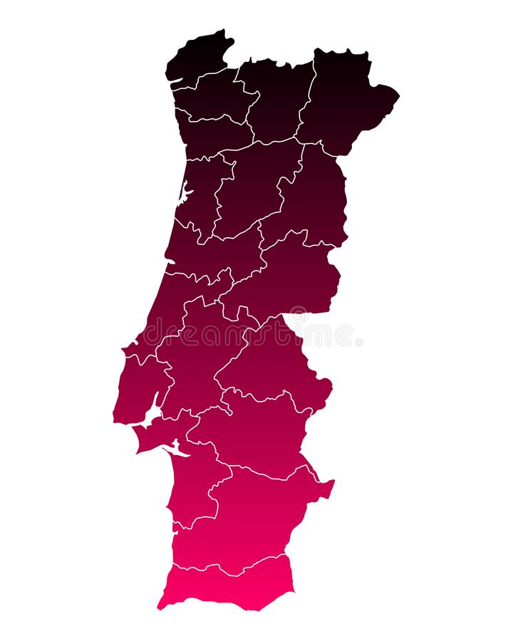 Map of Portugal. Detailed and accurate illustration of map of Portugal royalty free illustration