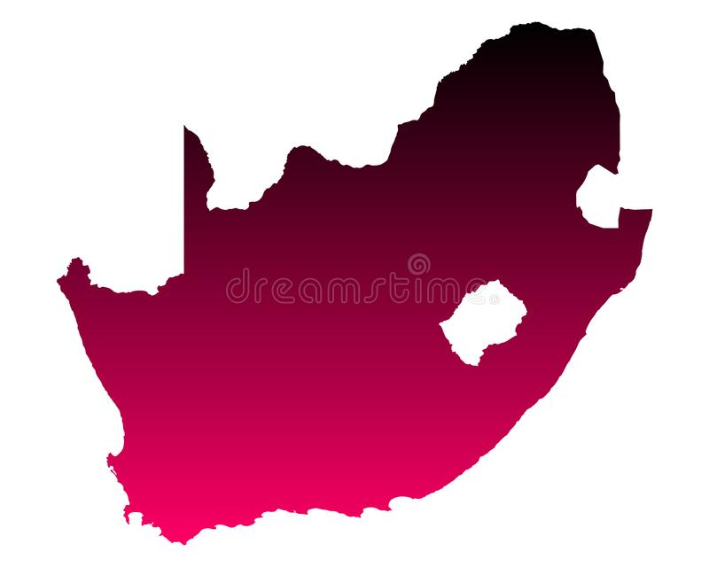 Map of South Africa. Detailed and accurate illustration of map of South Africa royalty free illustration