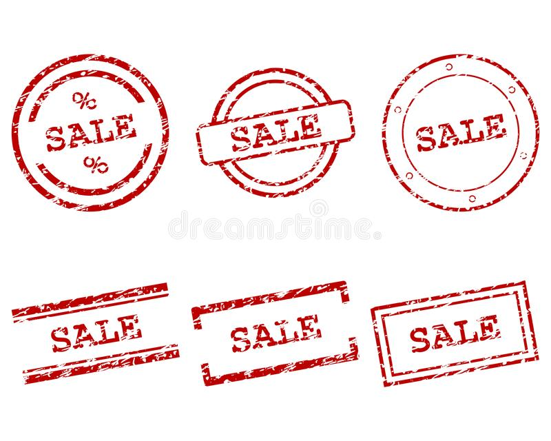 Sale stamps on white royalty free illustration