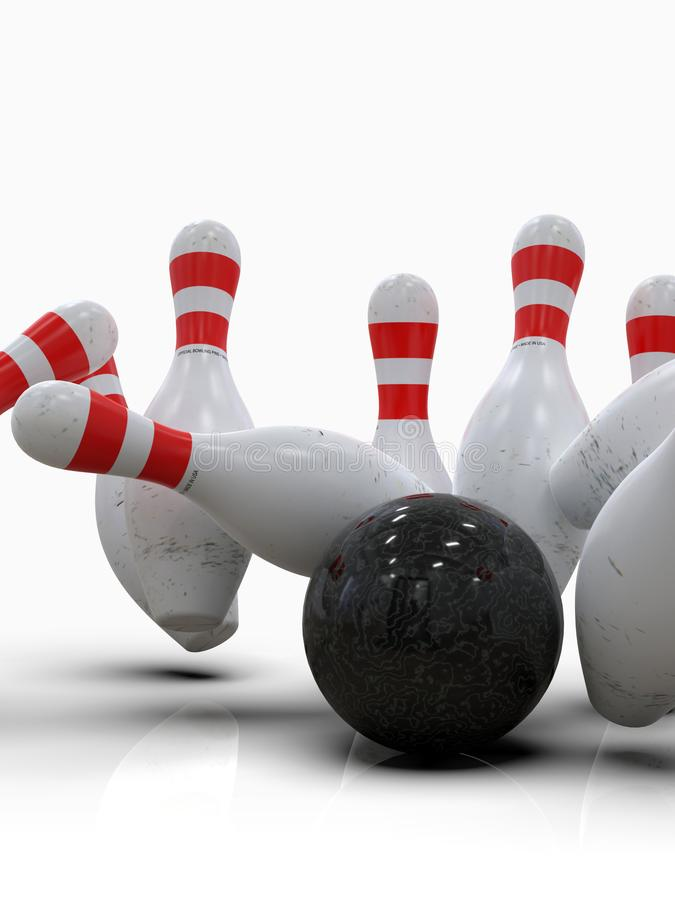 Bowling ball hitting all pins, in a Strike, light background. Detailed action shot of bowling ball blowing all the ten pins, scoring a strike. Pins in motion royalty free stock photos