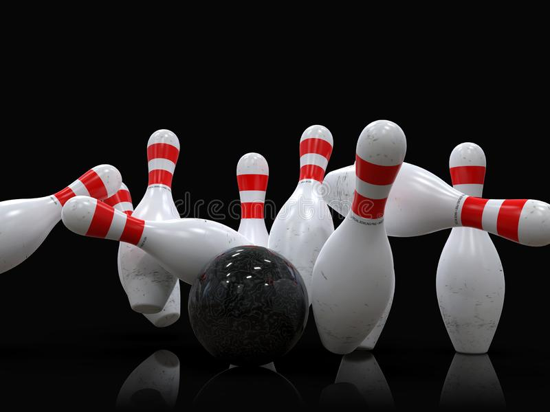 Bowling ball hitting all 10 pins, in a Strike, black background stock illustration