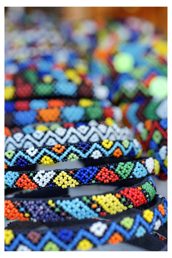 Detailed African beadwork in a craft market. Detailed African beadwork, in a craft market in Howick, South Africa stock images