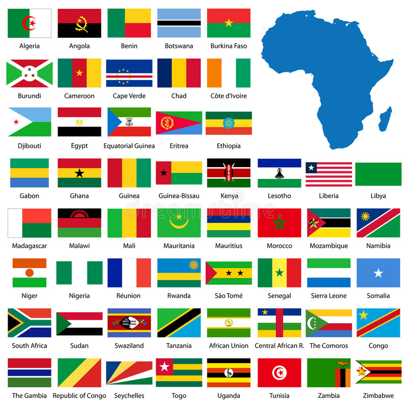 Detailed African flags and map vector illustration