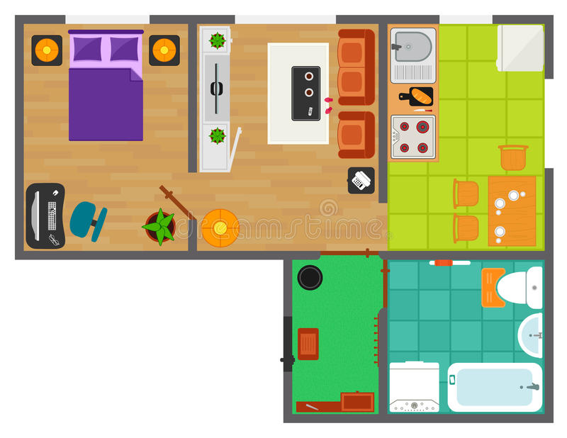 Detailed apartment furniture overhead top view vector illustration