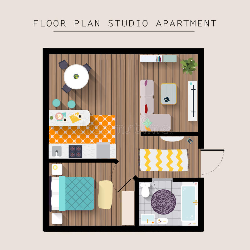 Detailed apartment furniture overhead top view. Studio Apartment royalty free illustration