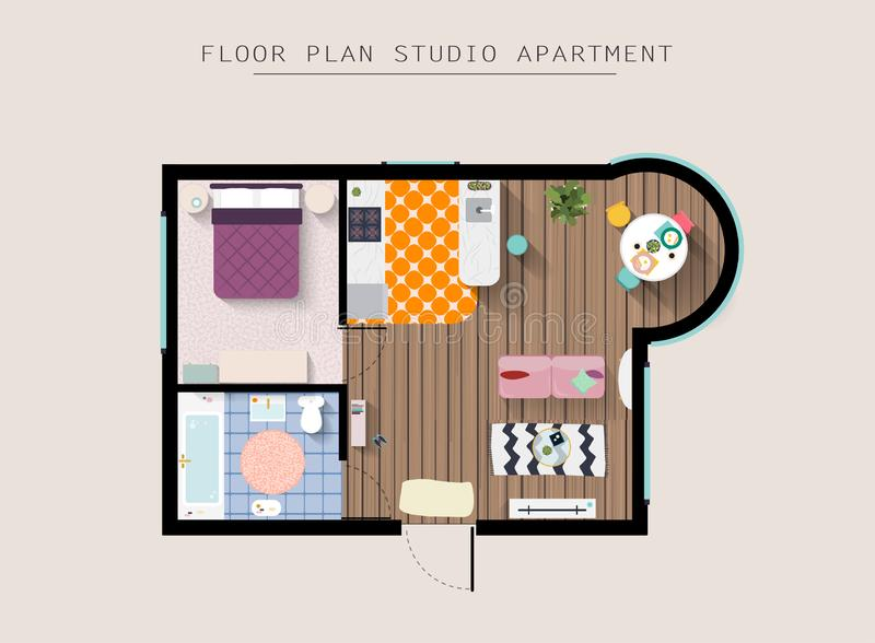 Detailed apartment furniture overhead top view. Studio Apartment With One Bedroom. Flat style vector illustration royalty free illustration