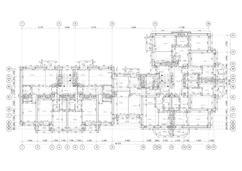 Detailed architectural floor plan, appartment layout, blueprint. Vector. Illustration royalty free illustration