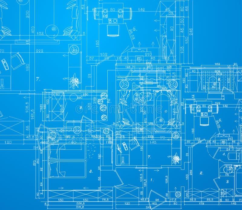 Detailed architectural plan stock illustration