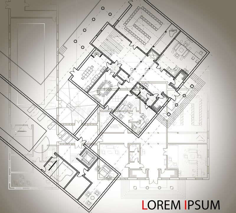Detailed architectural plan of the big house with another scheme on the background. Top view. Black and white isolated vector imag royalty free illustration