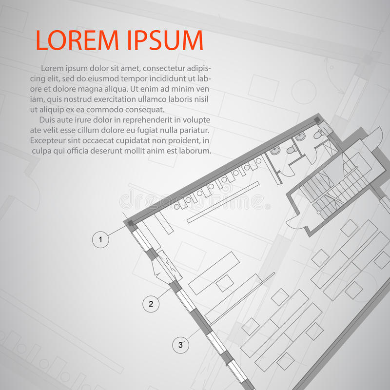 Detailed architectural plan design. Conceptual work of house stock illustration