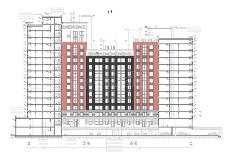 Detailed architectural plan of multistory building with underground download detailed architectural plan of multistory building with underground garage parking cross section view malvernweather Choice Image