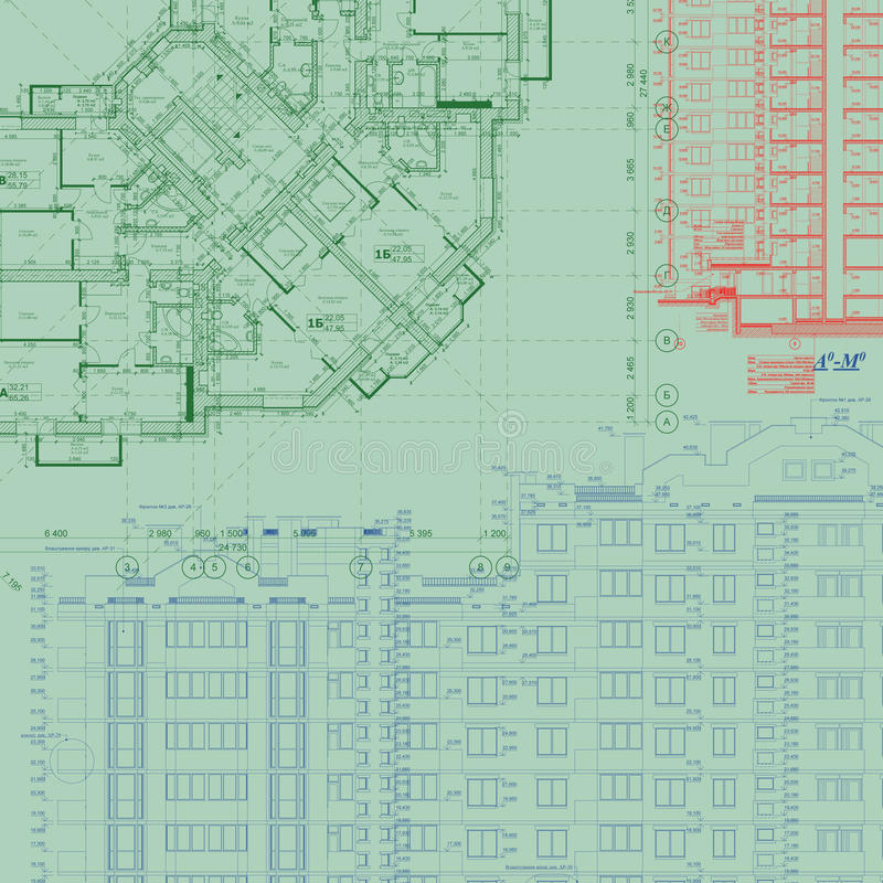 Detailed architectural plan royalty free illustration