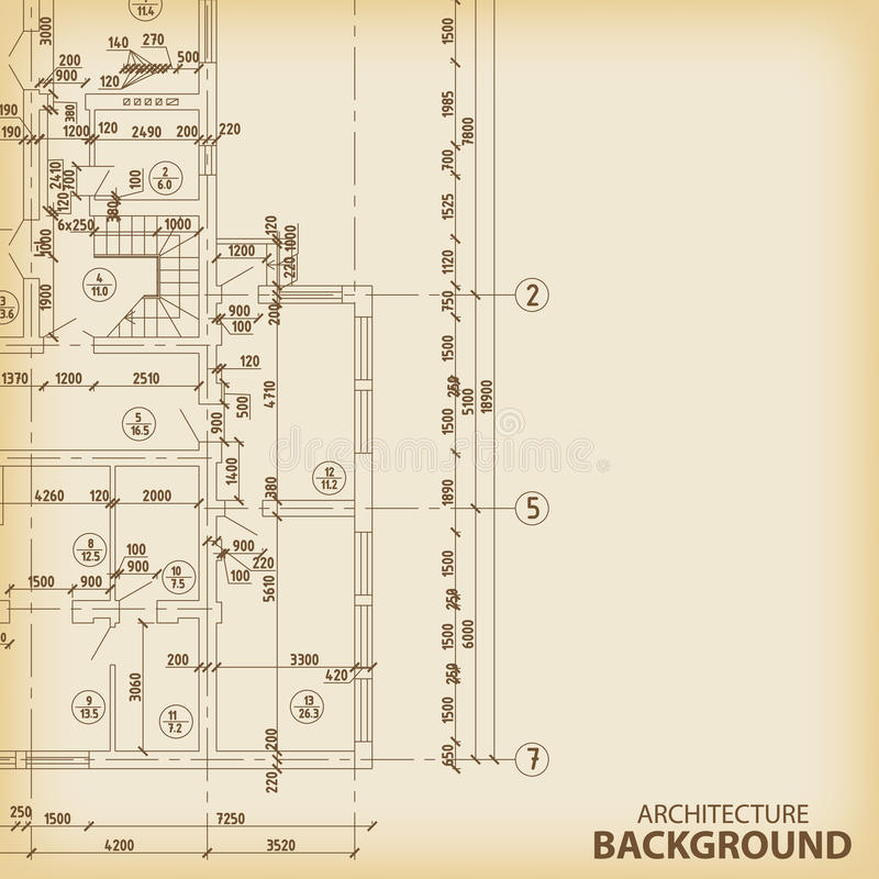 Detailed architectural project stock illustration