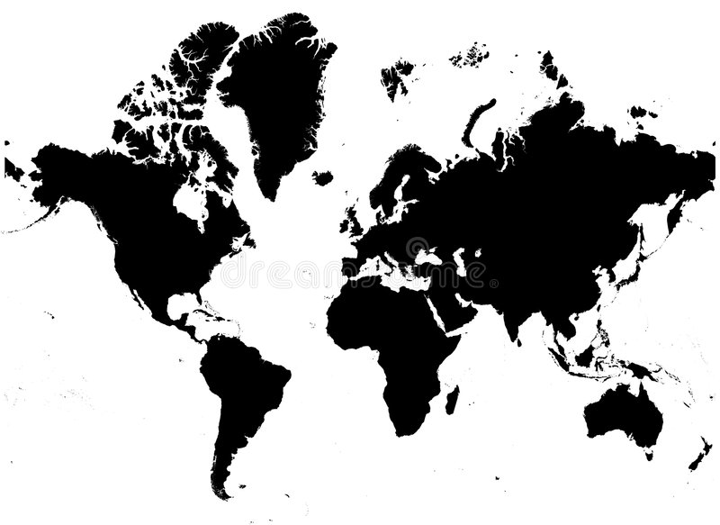 Detailed b/w map of the world royalty free illustration