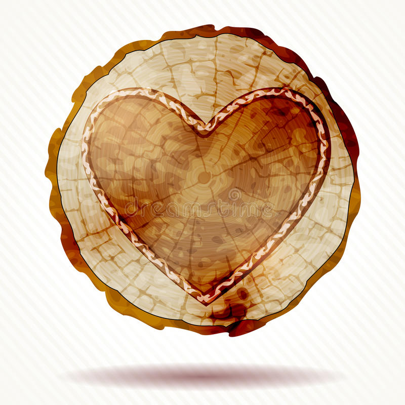 Detailed Beautiful Wood Crosscut With A Heart Stock Vector ...
