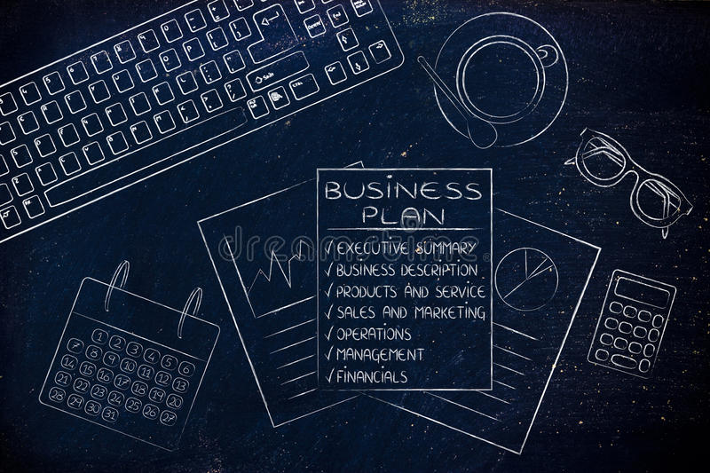 Detailed business plan & stats documents on office desk. Business plan with detailed elements on office desk with mixed objects royalty free stock photos
