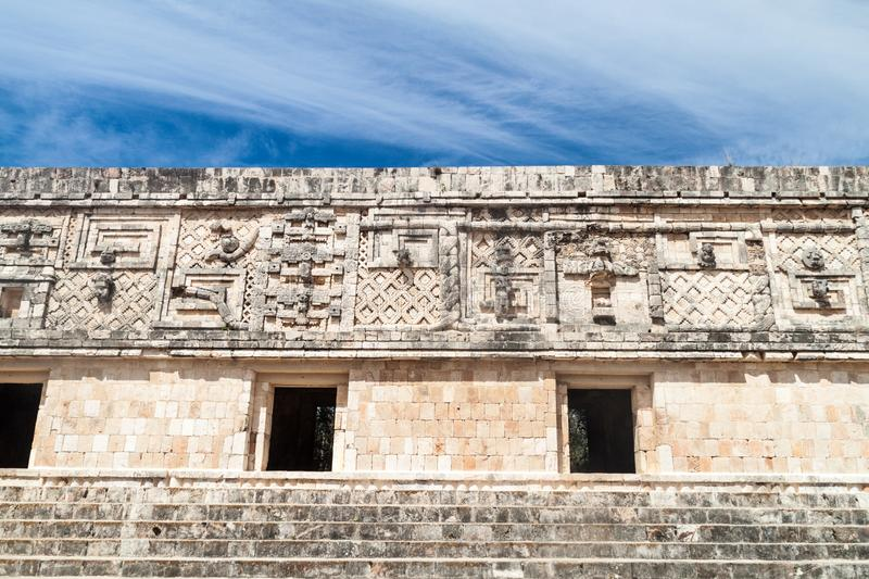 Detailed carvings at the Nun`s Quadrangle Cuadrangulo de las Monjas building complex at the ruins of the ancient Mayan. City Uxmal, Mexico stock image