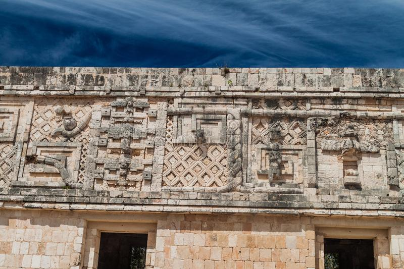 Detailed carvings at the Nun`s Quadrangle Cuadrangulo de las Monjas building complex at the ruins of the ancient Mayan. City Uxmal, Mexico stock images