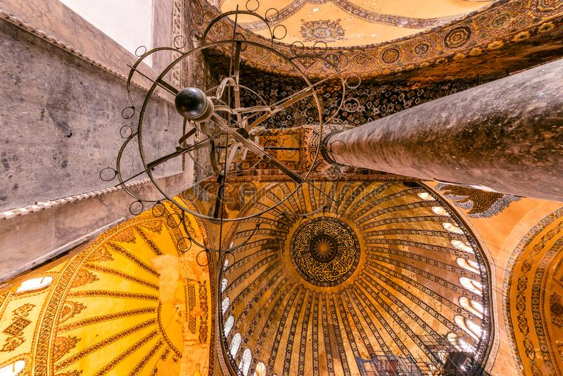 Detailed Ceiling of Hagia Sophia,a Greek Orthodox Christian patriarchal basilica church ow museum in Istanbul, Turkey,March,11 stock photos
