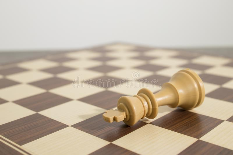 Detailed chessboard with chess during a check mate stock photography