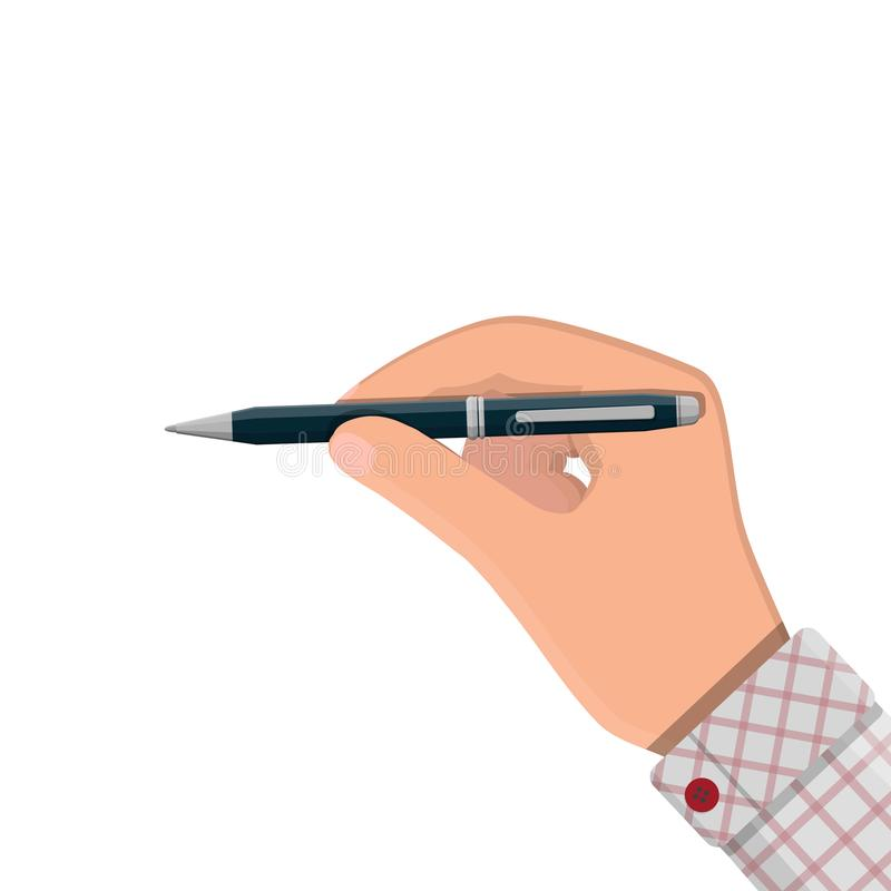 Detailed classic ballpoint pen in hand. Office and school equipment, stationery. Vector illustration in flat style royalty free illustration