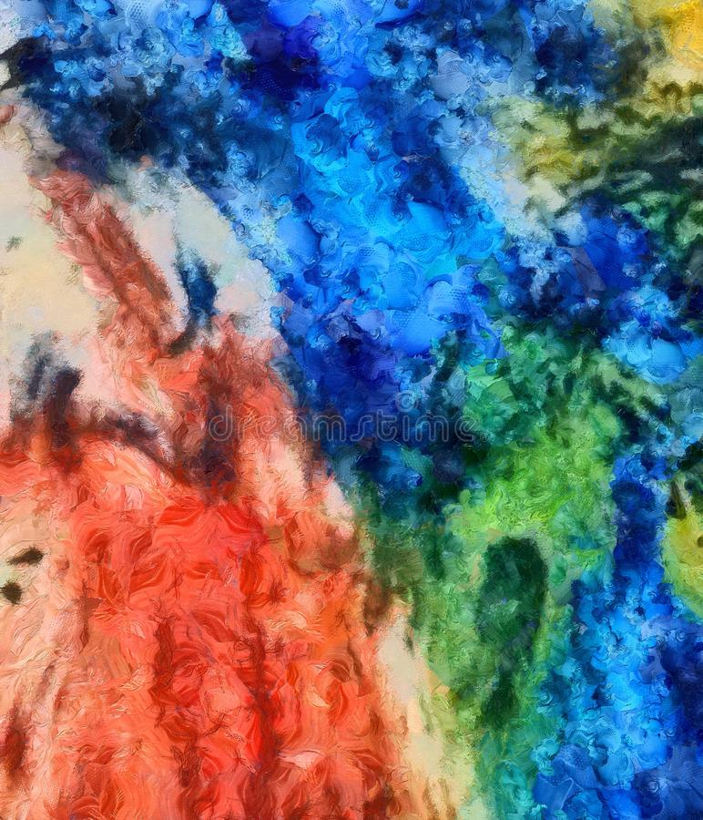 Detailed close-up grunge multi color abstract background. Dry br. Ush strokes hand drawn oil painting on canvas texture. Creative simple pattern for graphic work stock illustration