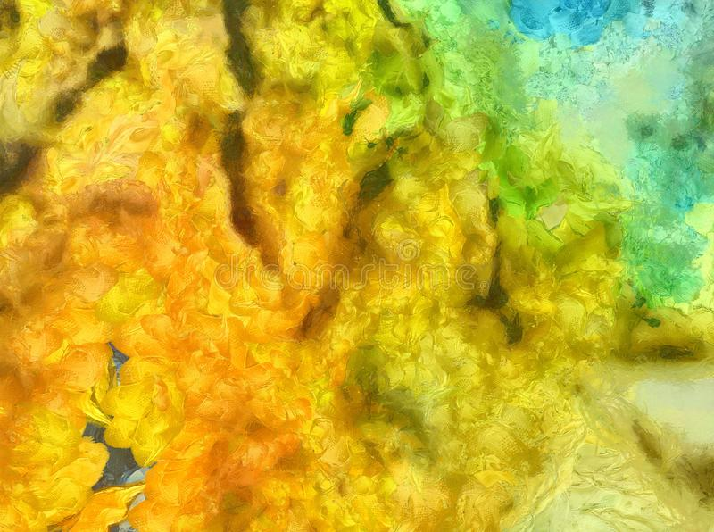 Detailed close-up grunge multi color abstract background. Dry br. Ush strokes hand drawn oil painting on canvas texture. Creative simple pattern for graphic work vector illustration