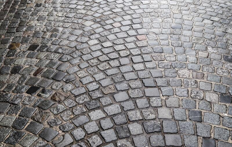 Detailed close up on old cobblestone roads in urban areas and old towns. In germany stock images