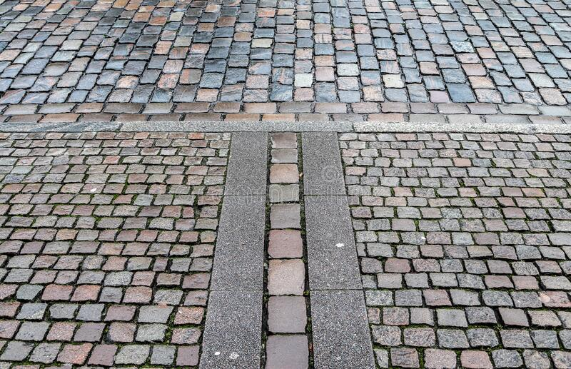 Detailed close up on old cobblestone roads in urban areas and old towns. In germany stock image