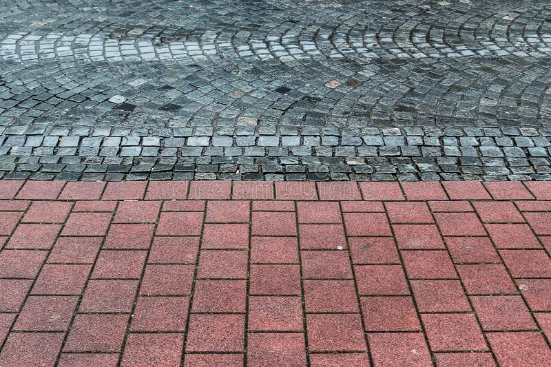 Detailed close up on old cobblestone roads in urban areas and old towns. In germany royalty free stock photography