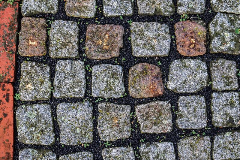 Detailed close up on old cobblestone roads in urban areas and old towns. In germany stock photography
