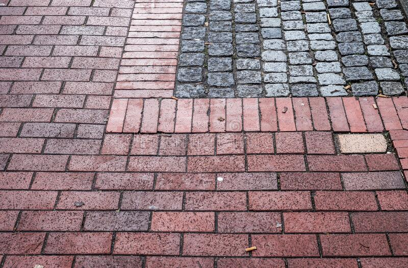 Detailed close up on old cobblestone roads in urban areas and old towns. In germany stock photo