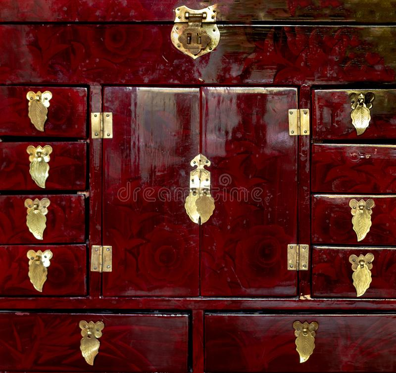 Detailed close up of a red handcrafted jewellery box royalty free stock photography