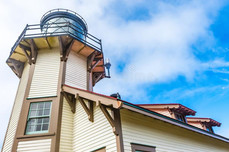 Detailed close-up shot of Point Cabrillo Light House near Fort Bragg California, on the Pacific Ocean. In CA royalty free stock photography