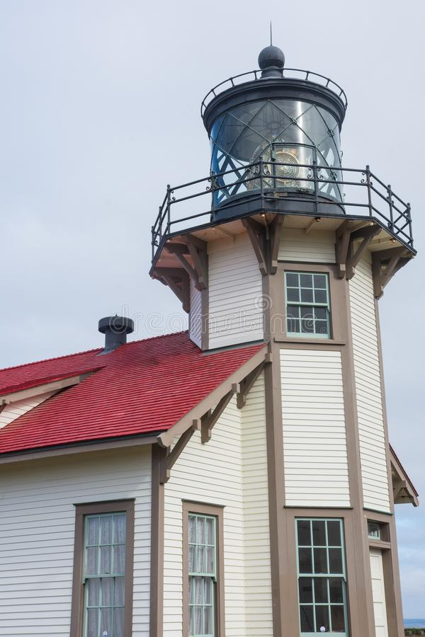 Detailed close-up shot of Point Cabrillo Light House near Fort Bragg California, on the Pacific Ocean. Overcast day royalty free stock photography